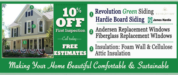 10% discount on Siding, Windows, and Insulation