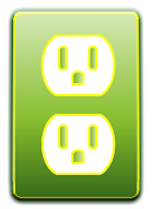 green electrical outlet icon